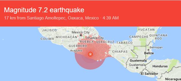میکسیکو: 7.2 شدت کا خوفناک زلزلہ، ہلاکتوں کا خدشہ