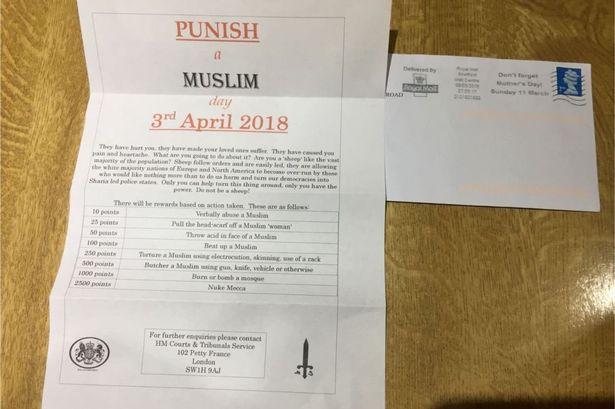 مسلمان کو سزا دو'، برطانیہ میں خطوط تقسیم'
