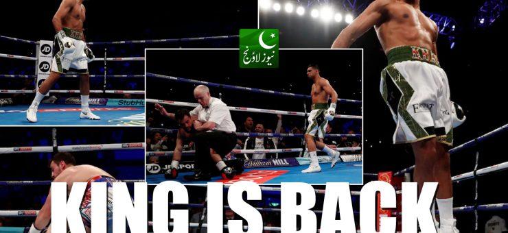 باکسر عامر خان کی شاندار واپسی، 40 سیکنڈ میں حریف کو دھول چٹا دی، ویڈیو دیکھیں