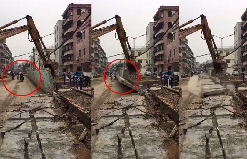 موت کب، کہاں آجائے، سکوٹر پر جاتے آدمی پر دیوار گر گئی، ویڈیو دیکھیں