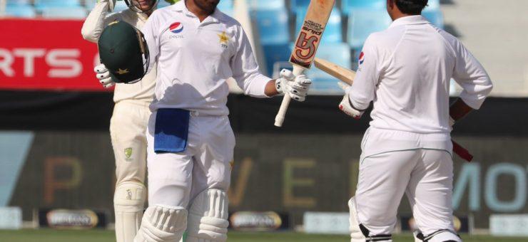 دبئی ٹیسٹ: حفیظ اور حارث کی سینچریوں کی بدولت پاکستان نے 482 کا مجموعہ بنا لیا