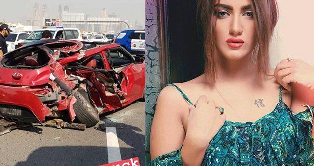 ماڈل و اداکارہ متھیرا کا دبئی میں خوفناک کار ایکسیڈنٹ، ٹرکوں کی ٹکر سے گاڑی مکمل تباہ
