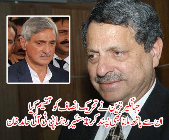 جہانگیر ترین نے تحریک انصاف کو تقسیم کیا، ان سے ہاتھ ملانا بھی پسند کرتا: سنئیر رہنما پی ٹی آئی حامد خان