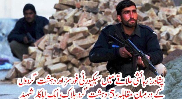 پشاور: رہائشی علاقے میں سیکیورٹی فورسز اور دہشت گردوں کا مقابلہ، 5 دہشت گرد ہلاک، ایک اہلکار شہید