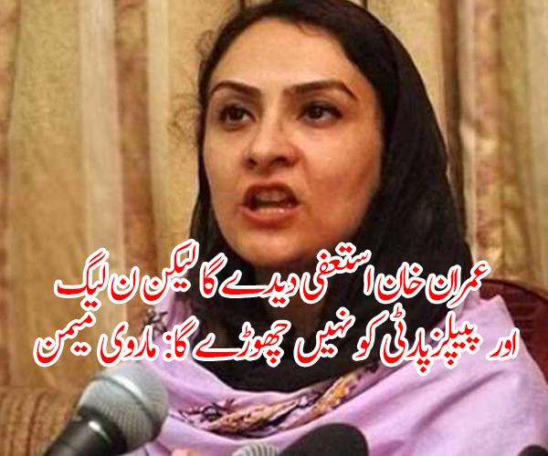 عمران خان استعفیٰ دیدے گا لیکن ن لیگ اور پیپلزپارٹی کو نہیں چھوڑے گا: ماروی میمن