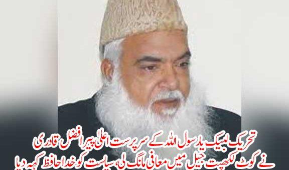 تحریک لبیک یارسول اللہ کے سرپرست اعلیٰ پیر افضل قادر ی نے معافی مانگ لی، سیاست کو خدا حافظ کہہ دیا