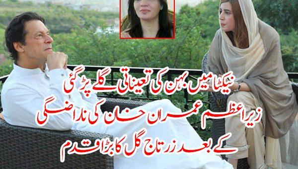 نیکٹا میں بہن کی تعیناتی گلے پڑ گئی،وزیراعظم عمران خان کی ناراضگی کے بعد زرتاج گل کا بڑا قدم