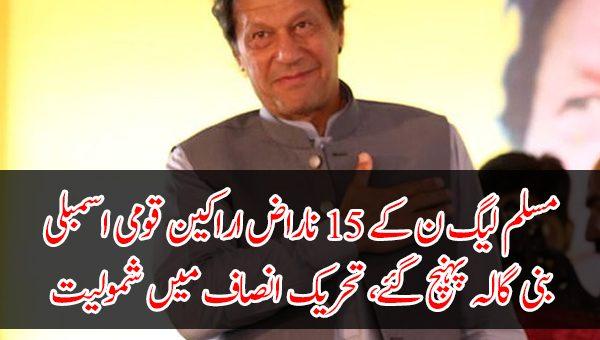 مسلم لیگ ن کے 15 ناراض اراکین قومی اسمبلی بنی گالہ پہنچ گئے، تحریک انصاف میں شمولیت