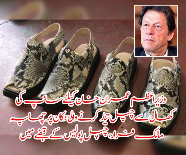 وزیراعظم عمران خان کیلئے سانپ کی کھال سے چپل تیار کرنے والی دکان پر چھاپہ، مالک فرار، چپل پولیس کے قبضے میں