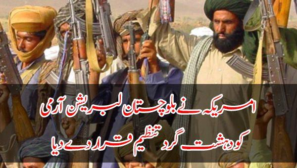 امریکہ نے بلوچستان لبریشن آرمی کو دہشت گرد تنظیم قرار دے دیا