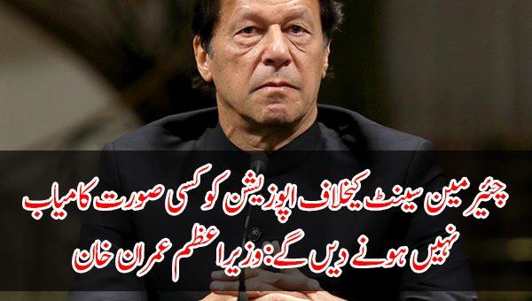چئیرمین سینٹ کیخلاف اپوزیشن کو کسی صورت کامیاب نہیں ہونے دیں گے: وزیراعظم عمران خان