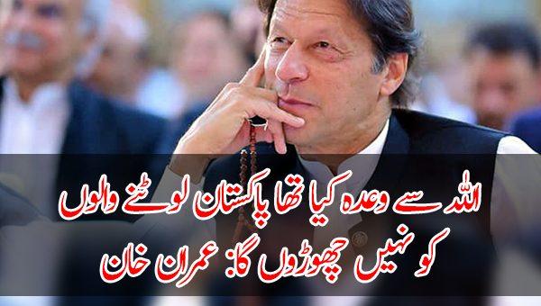 اللہ سے وعدہ کیا تھا پاکستان لوٹنے والوں کو نہیں چھوڑوں گا: عمران خان