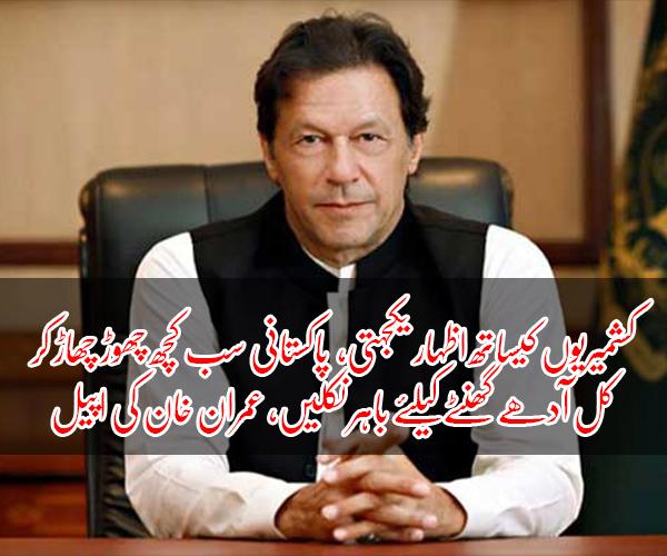 کشمیریوں کیساتھ اظہار یکجہتی، پاکستانی سب کچھ چھوڑ چھاڑ کر کل آدھے گھنٹے کیلئے باہر نکلیں، عمران خان کی اپیل