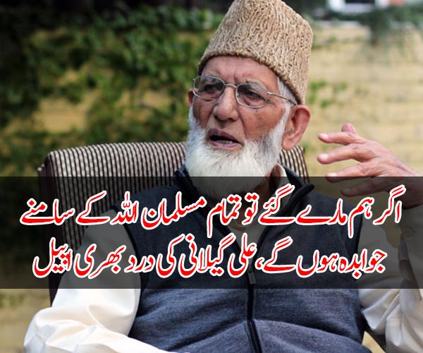 اگر ہم مارے گئے تو تمام مسلمان اللہ کے سامنے جوابدہ ہوں گے، کشمیر میں بھارتی فوج کا آپریشن، علی گیلانی کی درد بھری اپیل