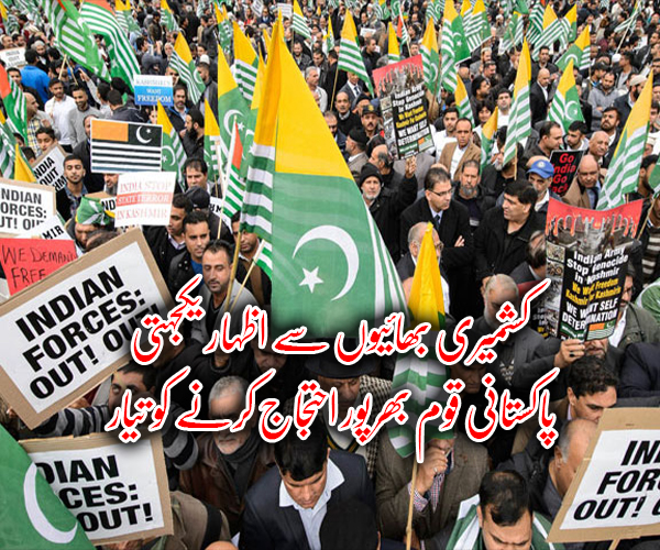کشمیری بھائیوں سے اظہار یکجہتی، پاکستانی قوم بھرپور احتجاج کرنے کو تیار