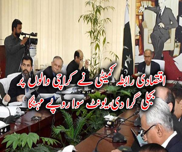 اقتصادی رابطہ کمیٹی نے کراچی والوں پر بجلی گرا دی، یونٹ سوا روپے مہنگا